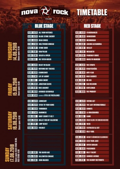 Nova Rock Festival Timetable